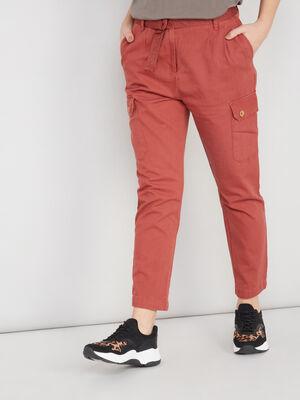 Pantalon battle avec ceinture orange fonce femme