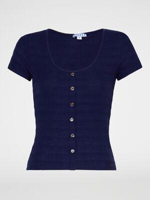 T shirt col U avec boutons bleu marine femme