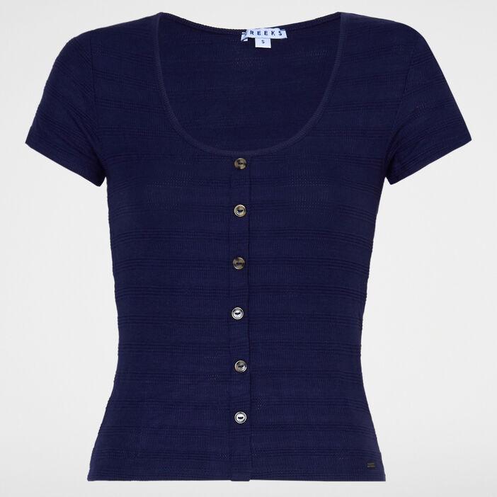 T-shirt col U avec boutons femme bleu marine