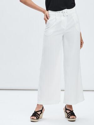 Pantalon large ceinture blanc femme