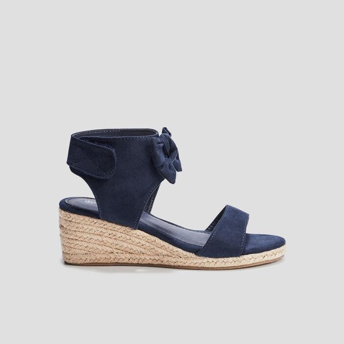 Sandales compensées à noeuds fille bleu marine