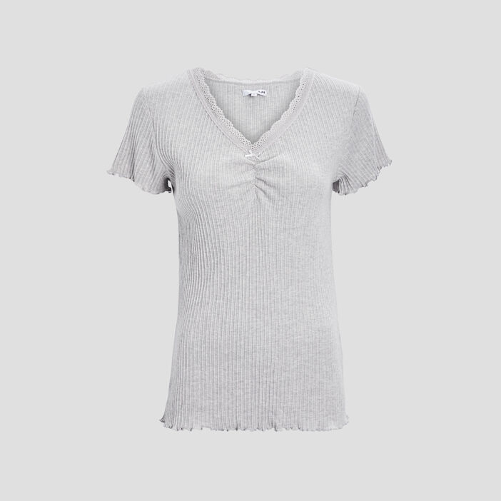 Haut de pyjama femme gris clair