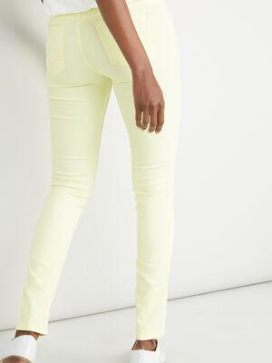 Pantalon slim jaune femme