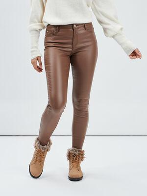 Pantalon enduit skinny taille haute marron clair femme