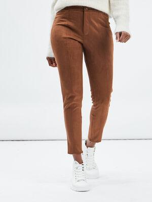 Pantalon skinny en suedine marron cognac femme