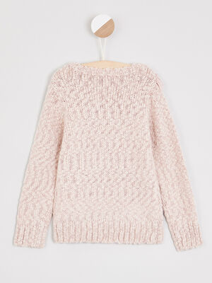 Pull a franges maille metallisee rose clair fille