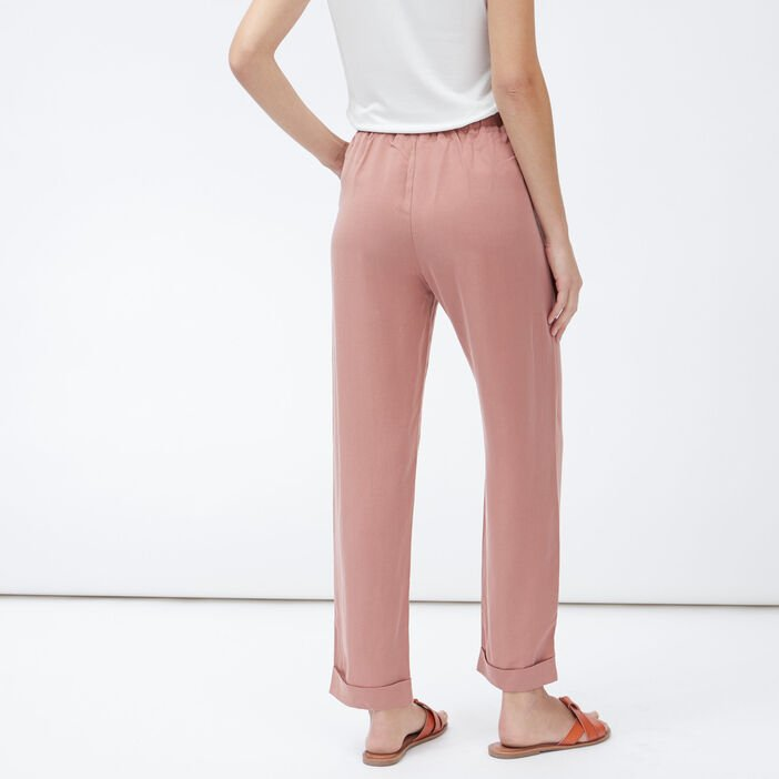 Pantalon droit ample femme rose