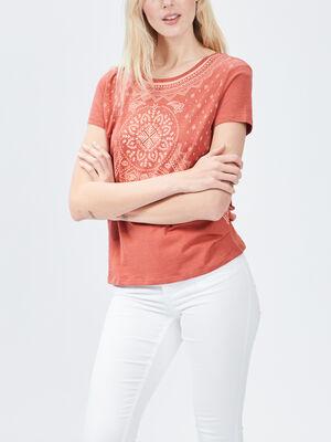 T shirt manches courtes Creeks orange fonce femme