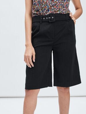 Short droit ceinture noir femme