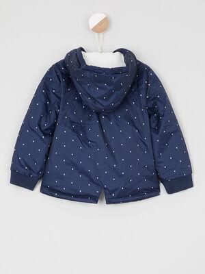 Manteau zippe avec imprime bleu marine fille