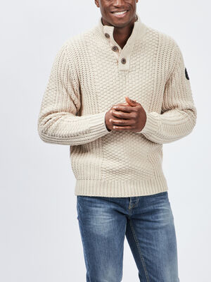 Pull a col montant boutonne beige homme