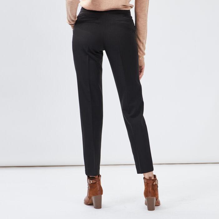 Pantalon droit à pinces femme noir