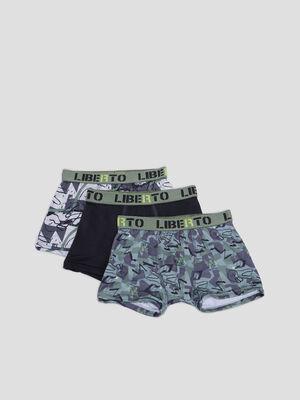 Lot 3 boxers Liberto vert kaki garcon