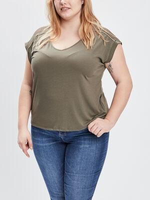 T shirt grande taille vert kaki femmegt
