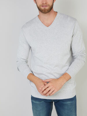 Pull col V chine coton gris clair homme
