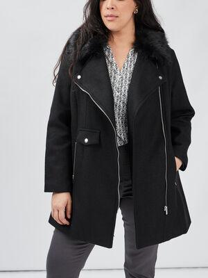 Manteau double evase Modavista noir femmegt
