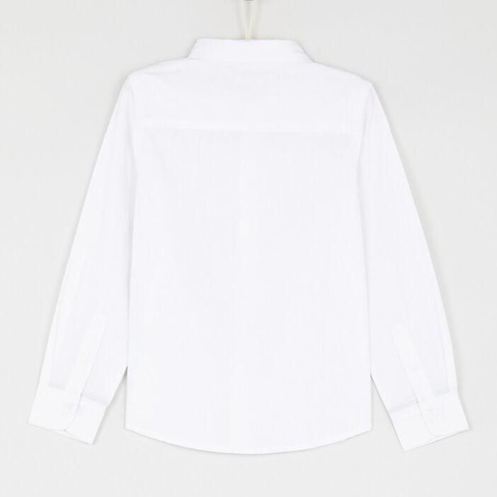 Chemise unie en coton garçon blanc