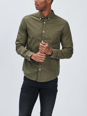 Chemise manches longues vert kaki homme