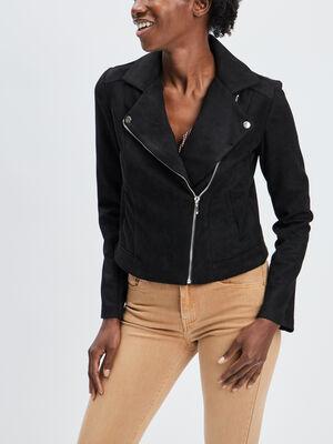 Veste style biker noir femme