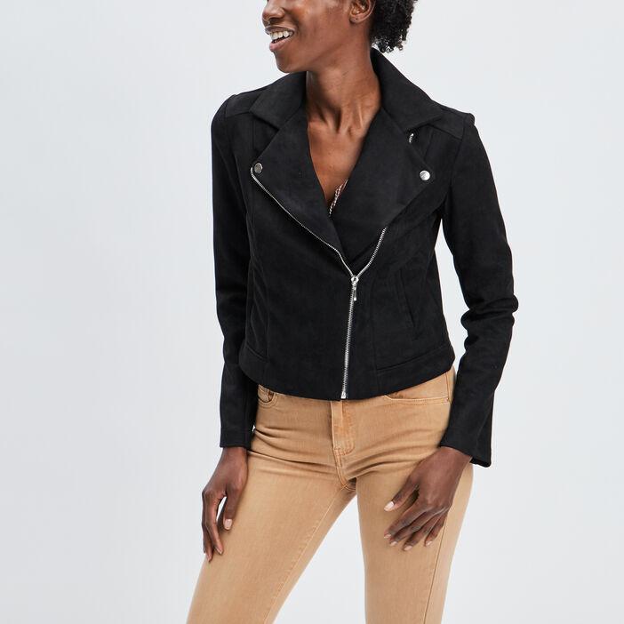 Veste style biker femme noir