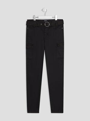 Pantalon droit ceinture noir fille