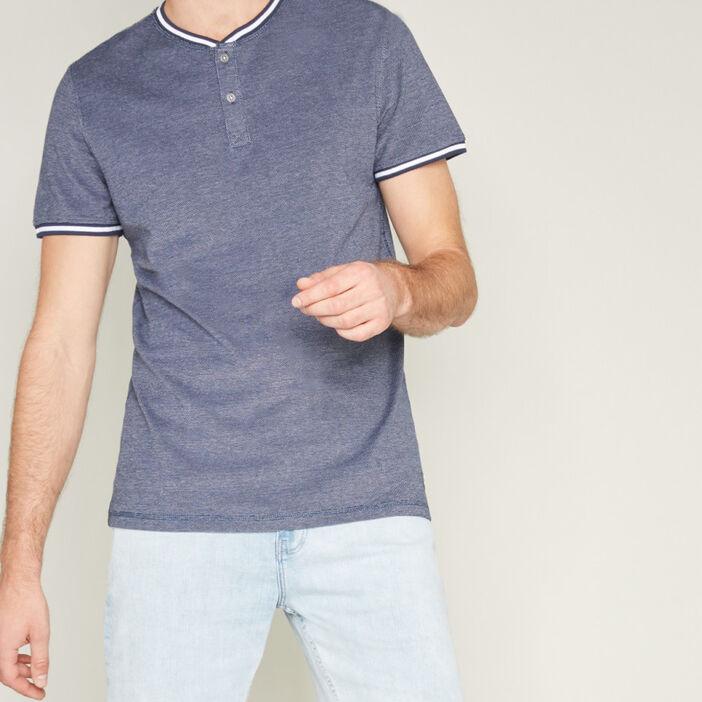 T-shirt coton bords rayés homme bleu marine