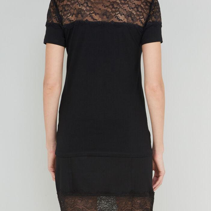 T-shirt avec épaules en dentelle femme noir