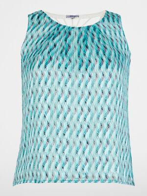 Chemise manches courtes bleu turquoise femme