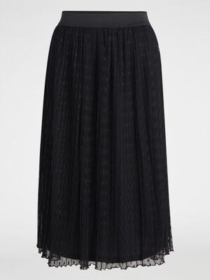 Jupe plissee en voile plumetis noir femme