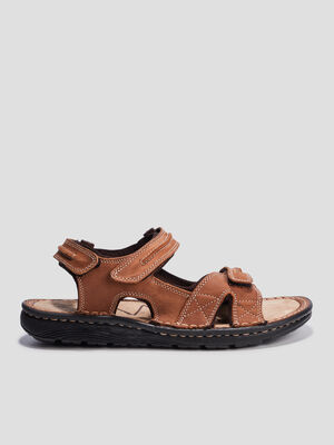 Sandales en cuir a scratchs taupe homme