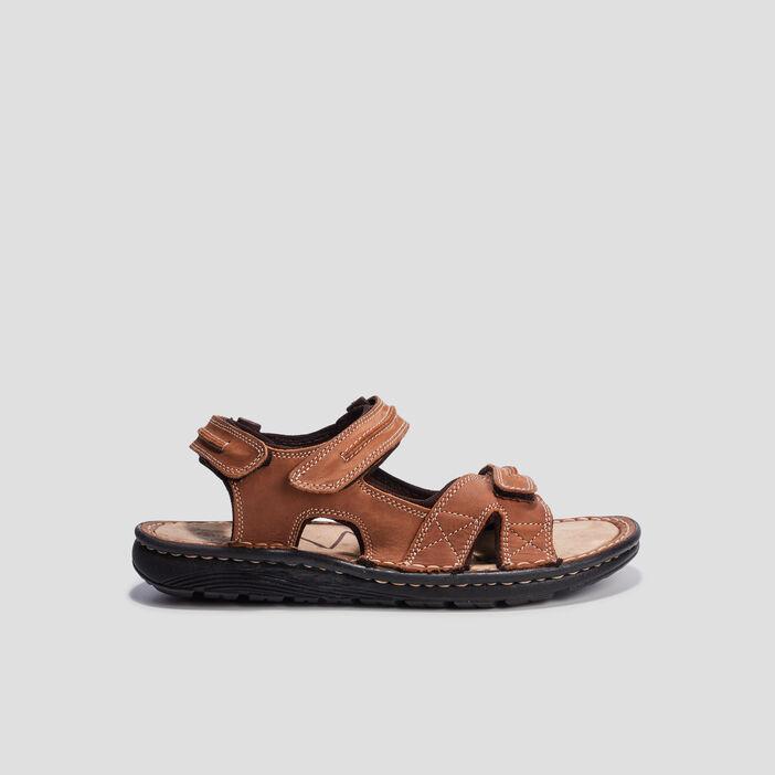 Sandales en cuir à scratchs homme taupe
