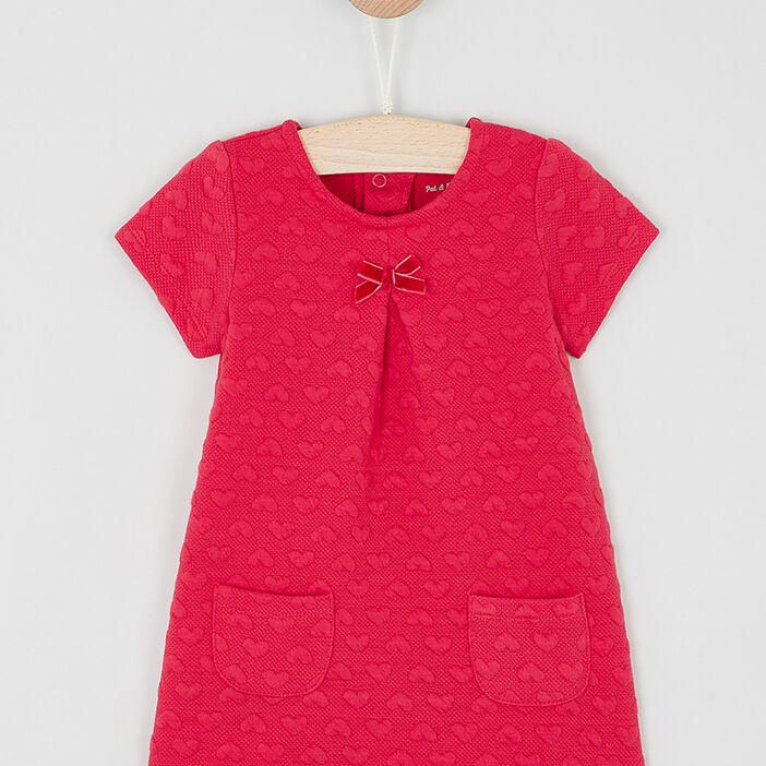 Robe trapèze à manches courtes bébé fille rouge