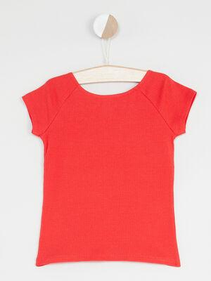T shirt manches courtes avec imprime rouge fille