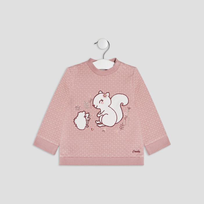 Pull manches longues bébé fille rose