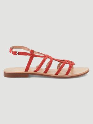 Sandales plates lanieres tressees cuir orange corail femme