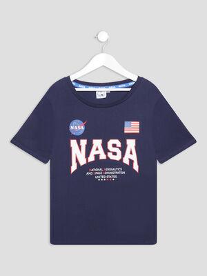 T shirt manches courtes NASA bleu marine fille