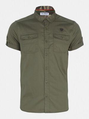 Chemise manches courtes vert kaki homme