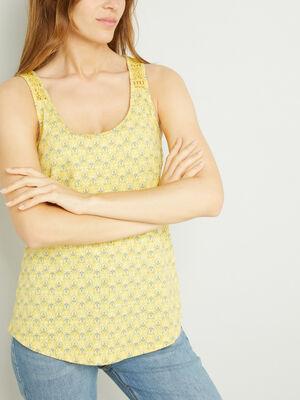 Debardeur imprime dos macrame jaune femme
