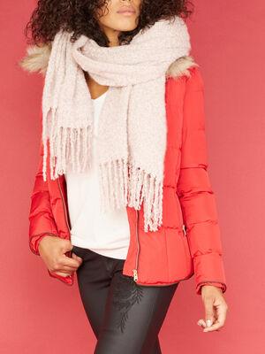 charpe duveteuse avec franges rose clair mixte
