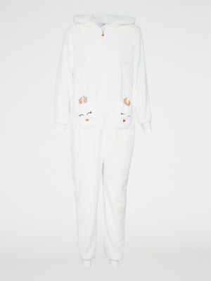Combinaison pyjama Biche toucher doux ecru femme