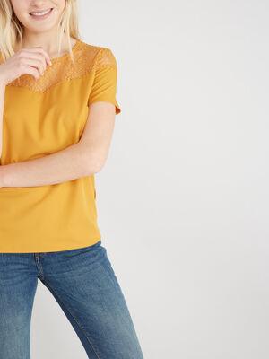 T shirt uni avec dentelle jaune moutarde femme