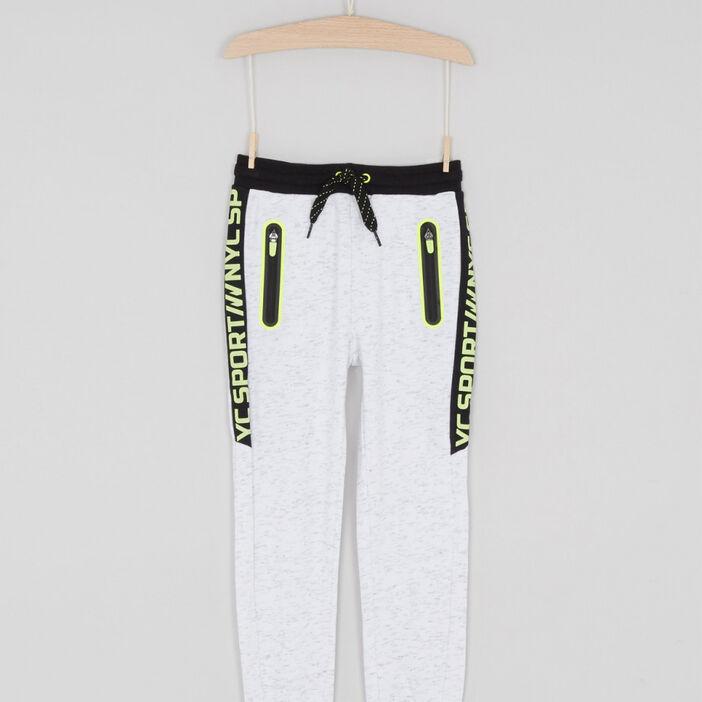 Pantalon jogging chiné message latéral garçon ecru
