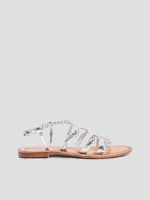 Sandales a brides tressees couleur argent femme