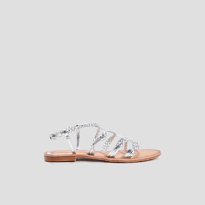 Sandales à brides tressées femme couleur argent