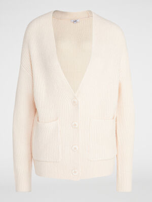 Cardigan mi long poches plaquees rose clair femme