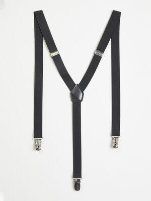 Bretelles unies 3 bandes noir mixte