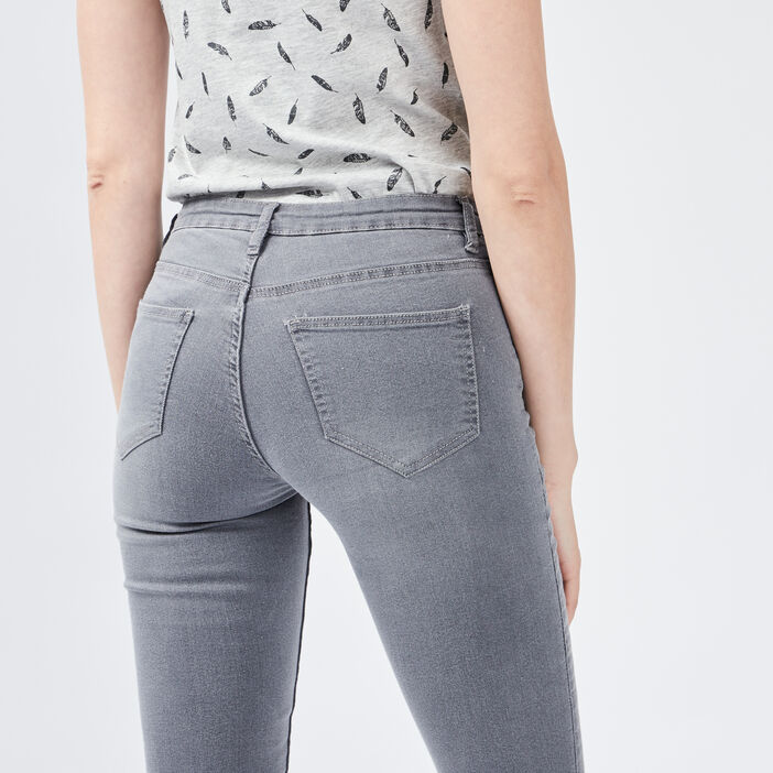 Jeans skinny taille basse femme gris