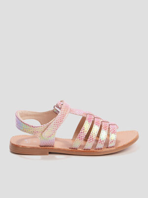 Sandales spartiates rose fille