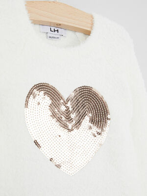 T shirt decoration sequins ecru fille