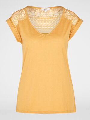 T shirt bimatiere manches courtes jaune moutarde femme